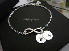INFINITY Initial Bracelet,Personalized Gift,Holiday gift idea,BFF,Mom's Bracelet,Grand,mom,ma,Best Friend,Sorority,Sisters bracelet and card
