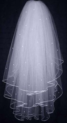 3 Tier White Bridal Veil with Pearl Accents Elbow Length Comb Attached Handmade