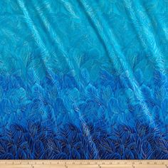 Timeless Treasures Enchanted Plume Metallic Feather Double Border Turquoise from @fabricdotcom  Designed by Chong-A Hwang for Timeless Treasures, this cotton print is perfect for quilting, apparel and home decor accents. Colors include shades of blue with gold metallic accents. This fabric features a double border of navy blue that runs the width of the fabric on both the top and bottom.