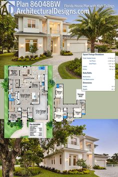 Architectural Designs House Plan 86048BW gives you over 4,100 square feet of heated living area and a 780 square foot covered lanai in back. Shown here built in Florida. Ready when you are. Where do YOU want to build?
