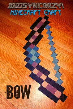 DIY Minecraft bow. Skeleton/Bow/Pig. Cool prop or party favor for a Minecraft birthday party.