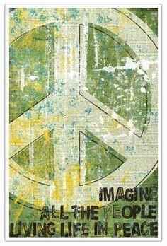 John Lennon Lyric Print Typography Art - Imagine All The People Living Life In Peace----