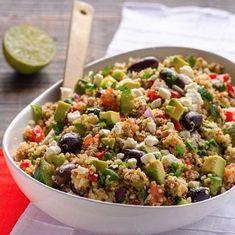 Mediterranean Quinoa Salad Recipe is simple and clean quinoa salad recipe with tomatoes, cucumbers, feta and olives. Best quinoa salad ever! Mediterranean Quinoa Salad, Mediterranean Diet Recipes, Vegetarian Recipes, Cooking Recipes, Healthy Recipes, Potluck Recipes, Sauce Recipes, Healthy Salads, Healthy Eating
