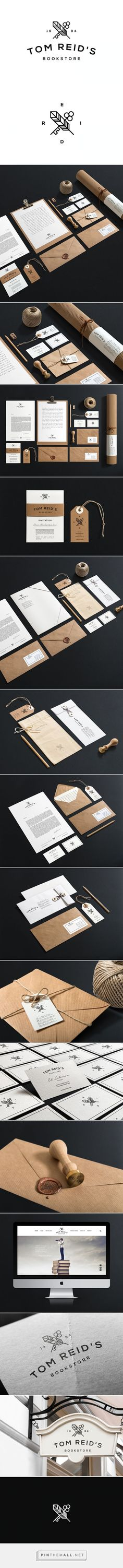 Tom Reid's Bookstore on Behance branding stationary corporate identity label business card letterhead enveloppe craftpaper logo icon stamp wax minimalistic graphic design