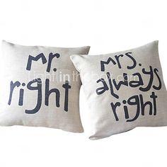 Set of 2 Romance of Couple Cotton/Linen Decorative Pillow Cover #00480472