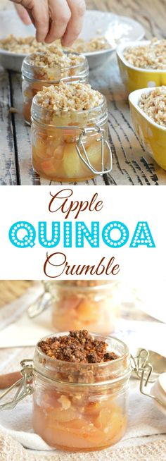 Apple quinoa crumble is a gluten free recipe with a flourless nuts, quinoa and coconut topping. #cleaneating #glutenfreecrumble #quinoa #quinoarecipe #quinoadessert #quinoacrumble #cleandessert #applecrumble #easyapplecrumble #healthycrumble