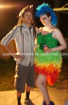 Coolest Parrot Costume... This website is the Pinterest of costumes  sc 1 st  Pinterest & READY TO SHIP: Paradise Parrot Feather Arm Bird Wings - Rainbow ...