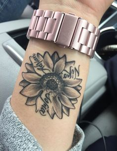 Sunflower with my kids name beautiful small tattoos, small love tattoos, cute foot tattoos Mom Tattoos, Body Art Tattoos, Hand Tattoos, Sleeve Tattoos, Tatoos, Kid Name Tattoos, Female Tattoos, Tattoos Skull, Thigh Tattoos