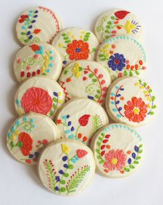 Mexican Embroidery / Floral Embroidery / Flower Sugar Cookies with Buttercream Frosting Flower Sugar Cookies, Cupcake Cookies, Cupcakes, Rose Cookies, Mexican Embroidery, Floral Embroidery, Embroidery Patterns, Mexican Cookies, Mexican Party