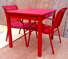 childrens red furniture set wooden table and two by RosesUpcycled, $70.00
