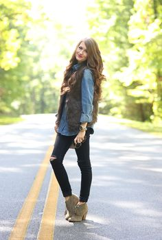 Fur vest, denim shirt, black slim pants, beige booties