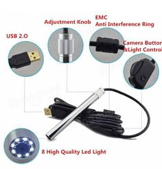 Andonstar 500X 8LED HD Real 2MP USB Digital Microscope Magnifier Metal Stand Base Pen Endoscope Sale - Banggood.com