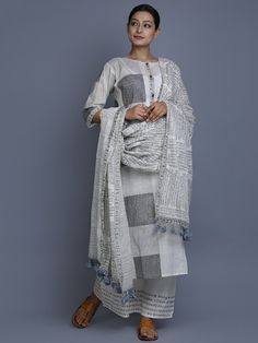 Off White Grey Hand Block Printed Cotton Dupatta
