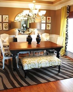"""dining room and love the""""molding"""" at the top.  nice combination of colors and fabrics"""