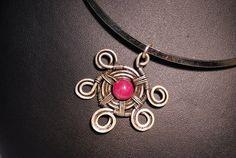 ruby necklace wire wrapped  jewelry handmade ruby  by BeyhanAkman, $40.00