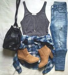 jeans ankle boots flannel grey tank top spring summer fall outfit. going out outfit
