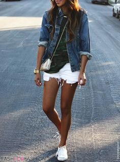 White cutoff shorts, white converse, jean jacket, and military top ensemble