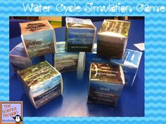 Water Cycle Simulation Game-- Use free printable cubes to have students travel through the water cycle.