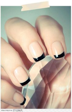 classic nails. Reminds me of Chanel