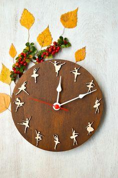 Ballet clock Dancing Ballerinas, gift for dancer, for girls, girl room decor, original wooden clock.