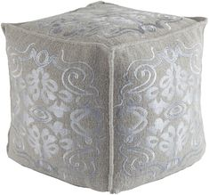 The Surya Adeline Cubic Pouf features a lovely floral motif in gray that enhances any room's décor. Featuring a mix of textiles, it's. Pouf Ottoman, Ikea, How To Clean Pillows, Leather Pouf, Rustic Elegance, Accent Furniture, Ottoman Furniture, Studio Furniture, White Furniture