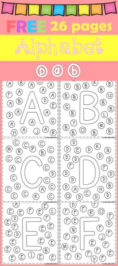 FREE Freebies Alphabet Dap A-Z 26 pages. For PreK and Kindergarten. by bernadette Preschool Letters, Learning Letters, Kindergarten Literacy, Alphabet Activities, Preschool Learning, Kindergarten Classroom, Preschool Activities, Letter Recognition, Letter Tracing