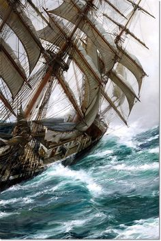 """""""STRETCHED CANVAS ART REPRODUCTION GICLEE - Museum quality reproduction, would make a great addition to any home, office or restaurant decor! Painting: Wind in the Rigging Artist: Montague Dawson (1895 - 1973) was a British painter who was renowned as a maritime artist. MASTERPIECE WORKS OF ART REPRODUCED TO MUSEUM QUALITY PAINTINGS ARE PRINTED ON HEAVYWEIGHT PROFESSIONAL CANVAS USING \""""GICLEE\"""" TECHNIQUE WITH A PROFESSIONAL VARNISH COATING STRETCHED CANVAS EDGE OPTION FINISHES - Please choose a Montague Dawson, Old Sailing Ships, Ship Paintings, Boat Art, Stormy Sea, Wooden Ship, Nautical Art, Oil Painting Reproductions, Tall Ships"""