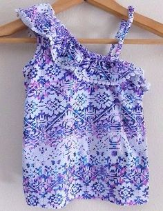 @salesfortoday Follow for daily updates and sales. Also CHECK OUT MY EBAY STORE  Girls Printed One Shoulder Shirt - Size 3T- Blue Purple- Aztec Print