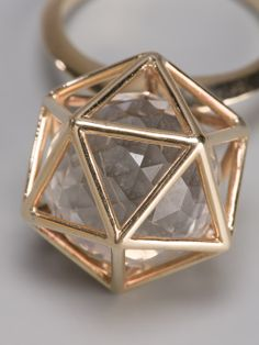 *E* Icosahedron Ring Candy Jewelry, Jewelry Art, Jewelry Rings, Jewelery, Jewelry Accessories, Fashion Accessories, Whimsical Fashion, Love Ring, Diamond Are A Girls Best Friend