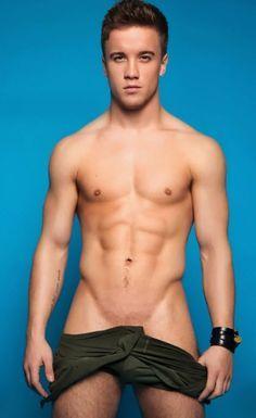 Sam Callahan sexy shirtless body in Gay Times