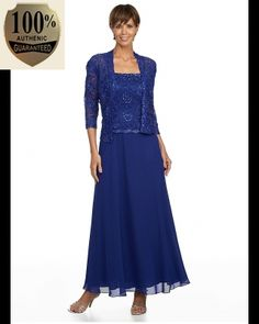Karen Miller 96540 Chiffon Dress with Lace Jacket in Sapphire (Plus Size) - Mother of the Wedding