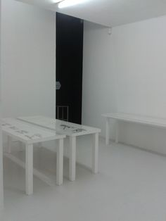 YOSEF JOSEPH DADOUNE   Installation View, at Château de Servières, Marseille. Drawings From 2014, 4 Wood Tables, white paint, plexiglas. Designed by : Matali Crasset. France 2016   Photographer : Joseph dadoune