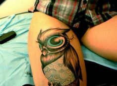 Cute owl tattoo that I know someone would love.