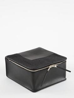 RICK OWENS RICK OWENS SS14 VICIOUS MEDIUM SIZED CASE IN BLACK LEATHER WITH GEOMETRICAL RECTANGLE EMBROIDERY DETAILS HAS A DOUBLE ZIP CLOSURE...