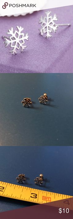 Snowflake Stud Earrings Snowflake stud earrings- silver tone. Bundle discount available. No trades Jewelry Earrings
