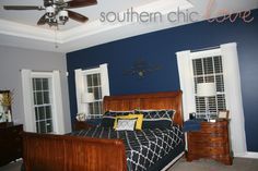 Southern Chic Love: leshia's master bedroom: navy, grey & yellow