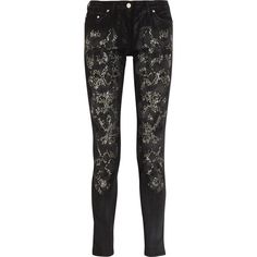 Roberto Cavalli Embellished mid-rise skinny jeans ($495) ❤ liked on Polyvore featuring jeans, pants, bottoms, skinny jeans, calças, black, mid-rise jeans, black mid rise skinny jeans, lined jeans and denim skinny jeans