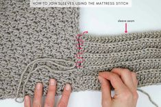 How to seam crochet sweater sleeves using the mattress stitch. In Part 2 of the Habitat Cardigan free crochet pattern, we'll add the ribbed collar and sleeves to complete this very simple flowy sweater featuring Lion Brand Heartland yarn.