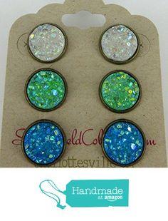 Trio Antiqued Gold-Tone Stud Earrings 12mm Faux Druzy Stone Clear AB Sea Blue Green from Summerfield Collection https://www.amazon.com/dp/B01N6JAMRW/ref=hnd_sw_r_pi_dp_4VcAybRGZB4YK #handmadeatamazon