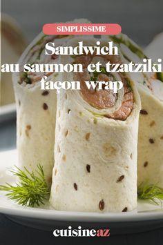 Une recette facile et rapide de sandwich au saumon et tzatziki façon wrap. #recette#cuisine#sandwich#tzatziki #wrap #saumon Tzatziki, Facon, Ethnic Recipes, Salmon Sandwich, Cooking Recipes, Fish