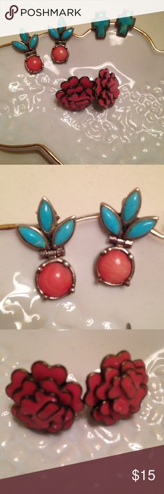 Turquoise & Coral Stud Earrings Set of 3 ⚜ Willing to sell pieces separately! ⚜ The two sets with turquoise are .925 sterling silver. Excellent condition! Reasonable offers always considered, feel free to ask questions. ☺️ Jewelry Earrings