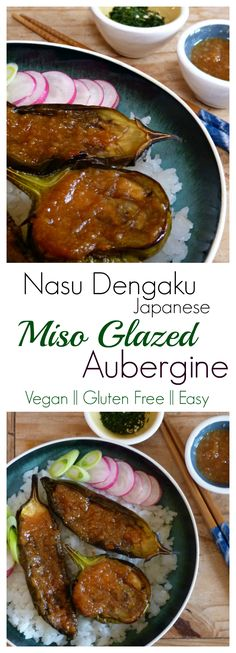 Miso Glazed Aubergine/Eggplant Japanese Style.  This is such a tasty vegan recipe. Super easy to make with rich umami, salt and sweet flavours that make the most of soft sun ripened aubergines. I love to serve this gluten free japanese recipe over sushi r