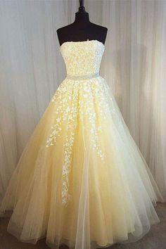 Elegant tulle lace applique long prom dress, tulle evening dress