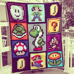 DreamPatch. Quilt with Mario, Luigi, Yoshi and more. Could this be done in crochet?