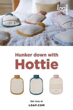 Our Hottie hot water bottles are just as soft as your favourite old-school woollies and come in six loafingly lovely colours. Quilt Bedding, Xmas Crafts, Old School, Cosy, Eye Candy, Stylish, Water Bottles, Inspiration, Rooms