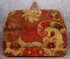 antique carpet bag tapestry 1800s early suitcase original large Civil War Era
