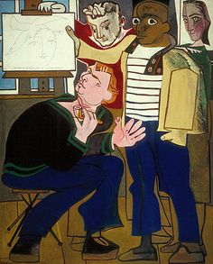 The Painters, 1952. By Françoise Gilot (France, born 1921). Oil on board.