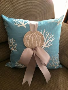 New Embroidery Monogram Pillow Etsy Ideas Coral Pillows, Monogram Pillows, Throw Pillows, Monogram Shirts, Embroidery Monogram, Embroidery Patterns, Machine Embroidery, Just In Case, Just For You