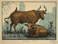 https://flic.kr/p/an6wEn | Aurochs - Serigraph on Paper | Decided to go ahead and crank this one out tonight - I took note of the feedback I received on flickr and went with a bit more of a faded blue backdrop for these guys. Printed once again on BFK Rives Cream in an edition of 20 or so.   Should I have stuck with the green - or was blue a wiser choice?  If you are interested in purchasing this print or any others, they are for sale over here at my etsy shop.