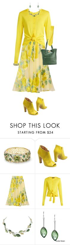 """Yellow Floral Skirt"" by miladyc ❤ liked on Polyvore featuring Maison Margiela, Lela Rose, Dolce&Gabbana, La Preciosa and Emma Fox"